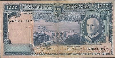 Angola  1000 Escudos  10.6.1970  P 98 , Prefix o7rR  Type I Circulated Banknote