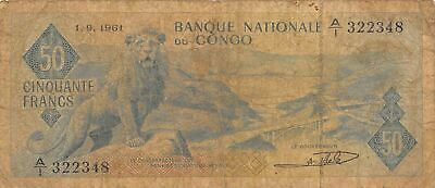 Congo  50  Francs  1.9.1961  Series A/1  Circulated Banknote AF416