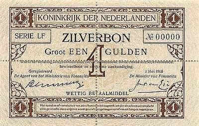 Netherlands  1  Gulden  1.5.1916  P 8  Series LF  Uncirculated Banknote