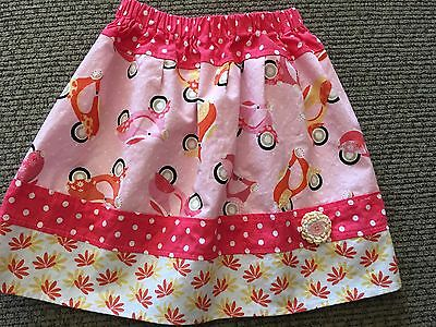 Custom Momi Boutique Girls Size 5/6 Skirt Features Cute Little Pink Scooters