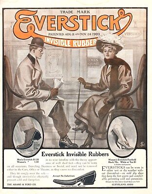 Everstick Invisible Rubbers -  For Men and Women's Shoes  -  1908 Original Ad