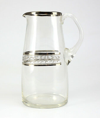 Etched Crystal Pitcher with Silver Overlay in Foliate Design; Unmarked