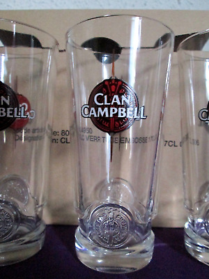 6 nouveaux verres a whisky clan campbell ricard  neuf 17cl