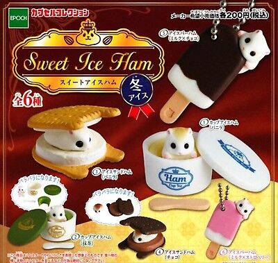 Epoch Capsule Toy Sweet Ice Ham complete 6 set hamster Figures Gashapon From JP