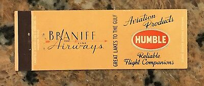 Vintage Humble Gasoline Aviation Products Braniff Airways Matchcover