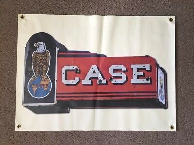 Case Farm Tractor Sign Banner Vinyl Hay Barn Country Tools Vintage Style Neon