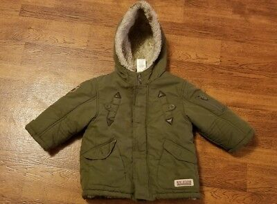 Boys toddler Cherokee army green winter coat 18 month