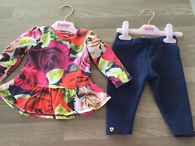 Ted Baker Baby Girls Floral Printed Top and Quilted Leggings Outfit 3-6 Months