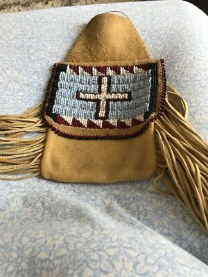 Native American Beaded Leather Bag