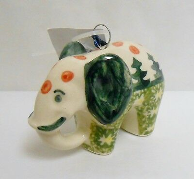 Boleslawiec Polish Pottery ELEPHANT Trees Pattern Christmas Ornament NWT