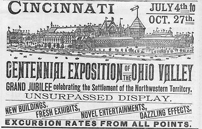 Cincinnati Centennial Exposition of the Ohio Valley  -  1888  -   Antique Ad