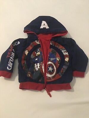 Marvel Reversible Sweatshirt Toddler Boys Size 2 Disney Store Captain America