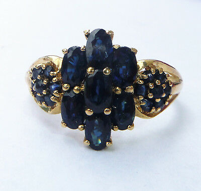 9ct Gold Large 2.10ct Sapphire Flower Cluster Ring, Size W