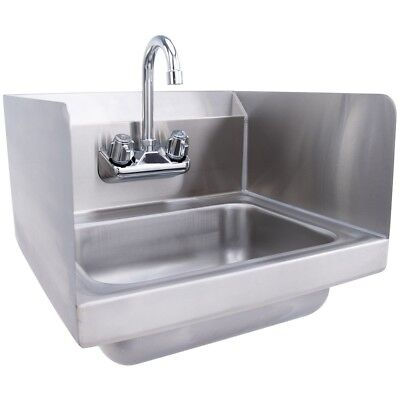 "17""x15"" Kitchen Wall Mount Stainless Steel NSF Hand Washing Sink w/Faucet Tool"