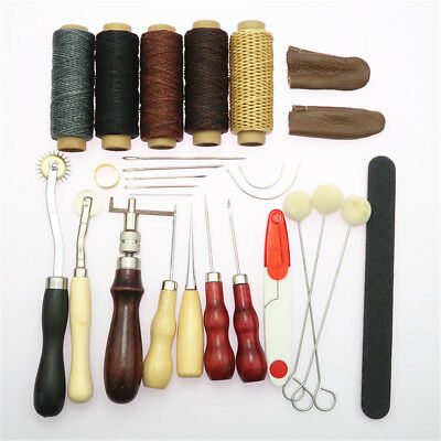 27Pcs/Lot Vintage Leather Craft Tools Kit Stitching Sewing Working Hand Tool