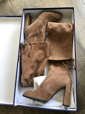 d82ce70f5fb New  798 Stuart Weitzman Hiline Over the Knee Boot Nutmeg Light Brown Suede  9.5M