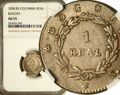 Ngc Au-55 Colombia Silver 1 Real 1838 (Scarce This Nice!)