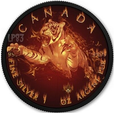 2017 1 Oz Silver BURNING WILDLIFE TIGER Coin W/  Ruthenium and 24K GOLD.