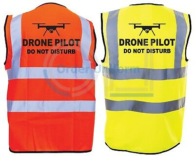 DRONE PILOT Do Not Disturb High-Viz Visibility Safety Vest Waistcoat S-4XL