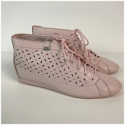 CHOOSE SIZE Vintage NIB 1980s Pink Leather Lace Up Ankle Boots Flats Shoes