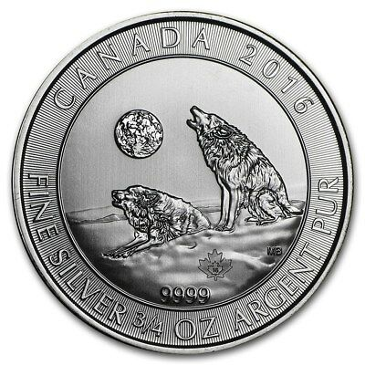 Silver Coin Canada - 3/4 oz Howling Wolves 2016 - 99.99 % pure silver