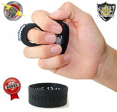 STREETWISE STING RING 18,000,000 STUN GUN W/ KEY RING - BLACK- w/ Bracelet