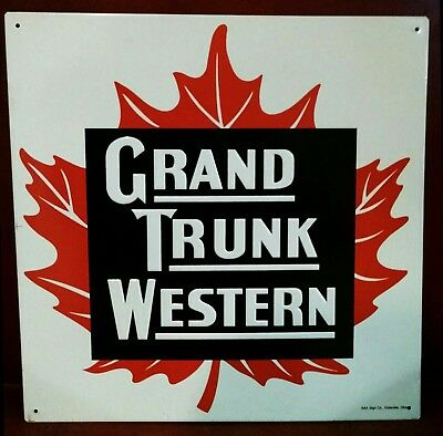 GRAND TRUNK WESTERN Railroad maple leaf LOGO Vintage metal Sign 24+year old