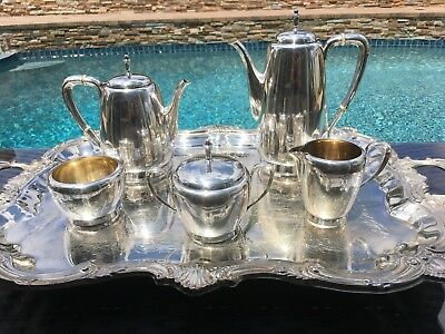 6 Pc Heavy Reed & Barton Sterling Silver Style Coffee / Tea Set Great Condition