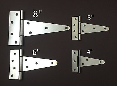 "4"" 5"" 6"" 8"" Heavy Duty Tee T Hinges Zinc-Plated for Fence Gate Barn Shed Door"
