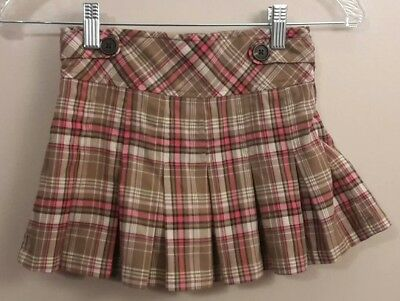 CHEROKEE girls S 6/6X pink and brown plaid skort with side zipper