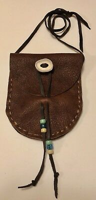 LEATHER Medicine NECK POUCH and FLAP Moose Leather and Lanyard