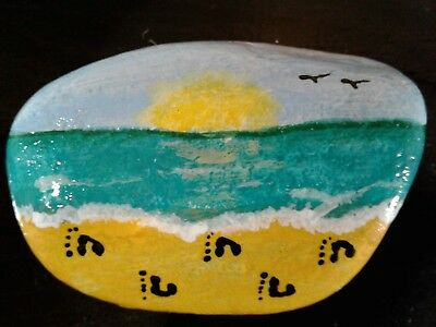 Footprints In The Sand Original Hand Painted Rock Stone Art By Suzanne Foster