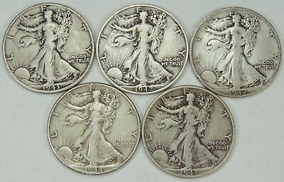 Lot of 5 Walking Liberty Silver Half Dollars Mixed Condition - FREE SHIPPING!!!