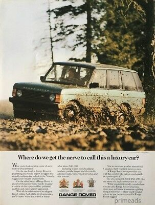 1987 RANGE ROVER British Car Muddy Road Vintage PRINT AD