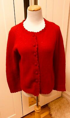 Red Virgin Wool Mohair Vintage Pinup Button Up Cardigan Sweater Size M
