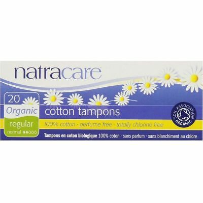 NatraCare Tampons Regular 20-Pack Box 100% Cotton Organic  - Same Day Shipping