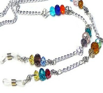 Reading eye glasses spectacle chain lanyard holder Silver Chain rainbow crystal