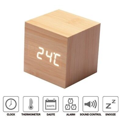Ultra Modern Wooden LED CLOCK square Cube Digital Alarm Clock With Thermometer