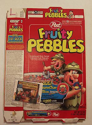 Post Cereal Box Fruity Pebbles with Prize King Tut Medallion 1997