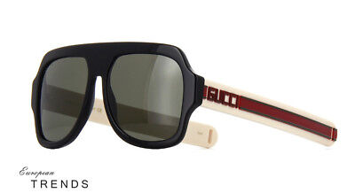 91c7e2d32d Gucci GG0255S Black Ivory Red Frame Gray Lens Sunglasses %100 Authentic