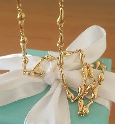 Tiffany & Co. Solid 18ct Yellow Gold Elsa Peretti Tear Drop Necklace 28gms $7250