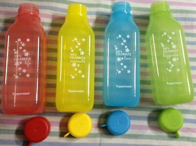 Tupperware BPA Free Printed 500 ml Square - 16oz Water Bottle - Set of 4