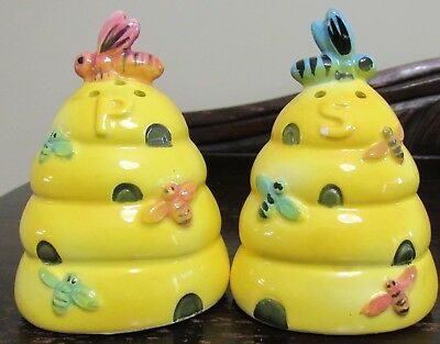 Pottery China salt & pepper Bees & Beehive cute characters