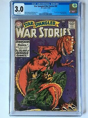 Star Spangled War Stories #90 1960 CGC 3.0 WHITE PAGES! 1st Dinosaurs/War! RARE!