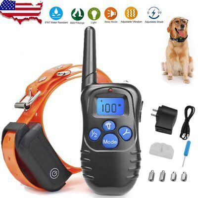 Dog Training Shock Collar With Remote Control 100 Level Shock Vibration Beep OY