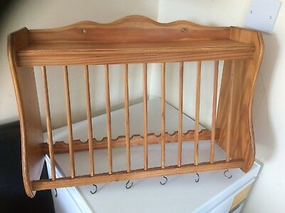 ... Pine Kitchen Wall Hanging Plate Rack Shelf And Cup Hooks ... & Kitchen Wall Plate Rack Shelf - Kitchen Appliances Tips And Review
