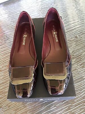 'Piazza Grande' Ladies Italian Burgundy Patent Leather Loafer Style ShoesSize 37