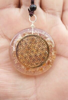 Reiki Energy Charged Citrine Stone With Flower Of Life Orgone Crystal Pendant