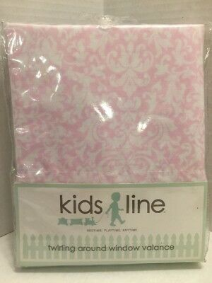 KIDS LINE Twirling Around Pink & White Floral Print NURSERY WINDOW VALANCE 60X14
