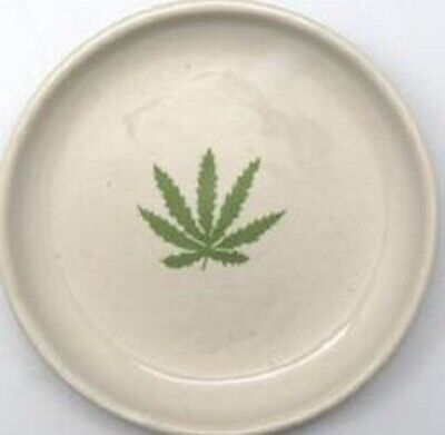 Ceramic Mull Container Leaf White 10.5cm Tobacco Cigarette Tray Buds Rolling